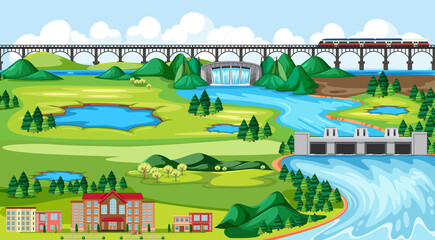 Foto auf Acrylglas Pool Town or city and bridge train landscape scene in cartoon style