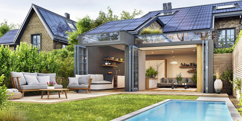 Modern house with patio area and solar panels