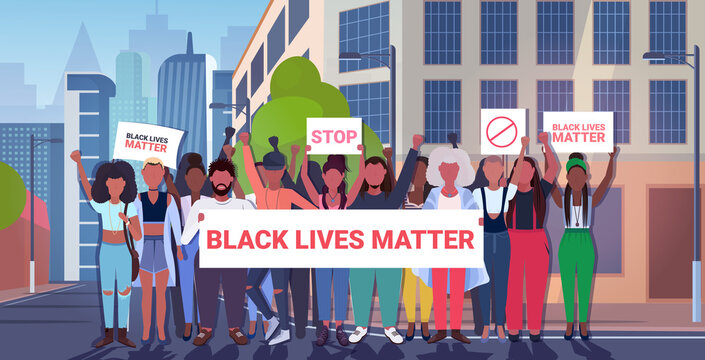 african american protesters with black lives matter banners awareness campaign against racial discrimination support for equal rights of black people cityscape background vector illustration