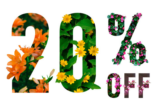 20% off discount promotion sale poster. Summer sale banner with paper cut tropical flowers on