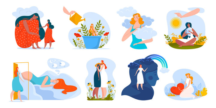 People mental health vector illustration. Cartoon flat woman characters hugging, helping in problems, healthcare emotional psycho therapy, love and mentally care of yourself icon set isolated on white