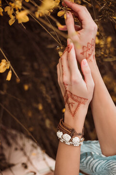 Big plan female hands with mehendi pattern, on the background of flowers, bracelets