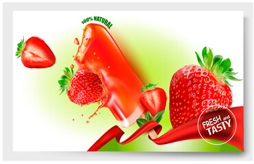 3 d.Strawberry ice cream.Popsicle ice cream on a stick.Slices of Strawberry. Picture for sale of fruit and ice cream. Vector image.