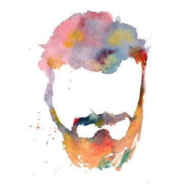 Hand drawn watercolor man with beard illustration