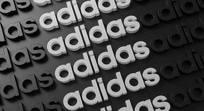 Adidas Multiple Typography on Dark Wall 3D Rendering