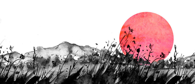 Seamless linear background. black silhouette of mountains on an isolated white background. The drawing is made in black paint, watercolor, ink.In the style of Chinese painting.Abstract splash.eclipse