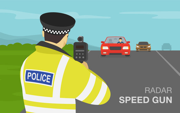 Traffic police officer holding a radar speed gun on highway. Back view. Flat vector illustration.
