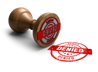 Denied stamp. Wooden round stamper and stamp with text Denied on white background. 3d illustration. rubber stamp.