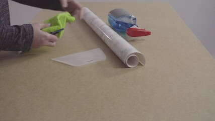 Wall Mural - Making marble board with adhesive paper for food photography.