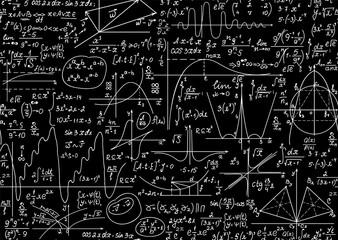 Photo sur Plexiglas Artificiel Math educational vector seamless background with handwritten formulas, figures, calculations,