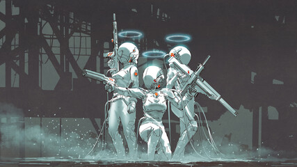 Keuken foto achterwand Grandfailure futuristic female soldiers with hi-tech weapons