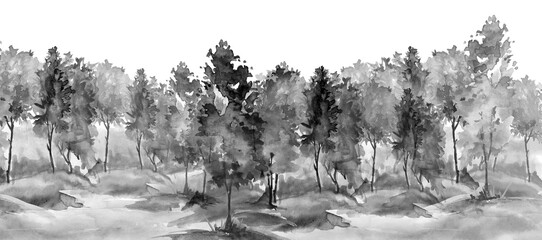 watercolor pattern. Autumn landscape, forest, park. Silhouettes of trees and bushes. Linear curb. Mixed forest - oak, ash, maple, birch, cedar. Manual graphics. Handmade drawing. Black silhouette