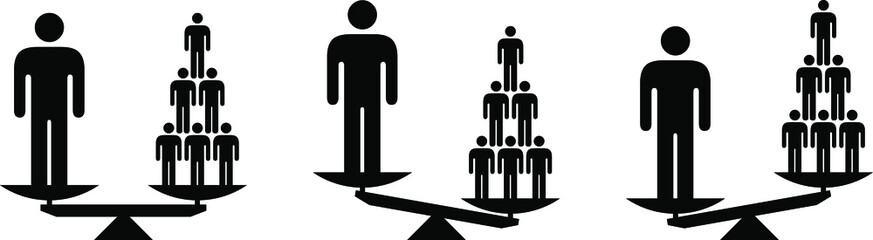 Obraz People icons - social equality concept - scales showing different ways of valuing individuals and society/groups. - fototapety do salonu