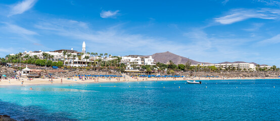 Wall Mural - Landscape with Playa Blanca and Dorada beach, Lanzarote, Canary Islands, Spain