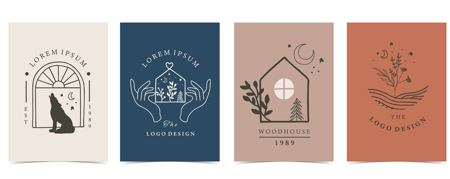 Collection of house background set with fox, flower,hand,tree.Editable vector illustration for website, invitation,postcard and sticker