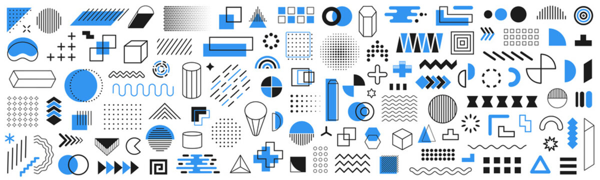 Set of 120 geometric shapes icons. Memphis design retro elements. Collection trendy halftone geometric shapes. Retro funky graphic, 90s trends designs and vintage print element collection