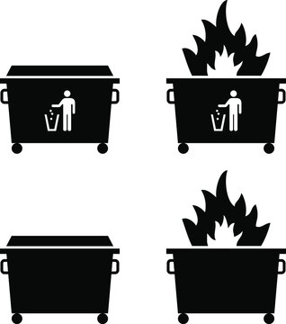 Trash/rubbish dumpster icons with fire. Dumpster fire concept.