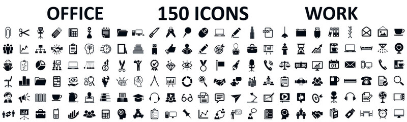 Set of 150 office icons, work in office signs - stock vector