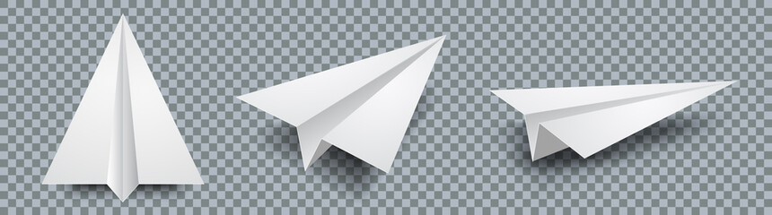 Set realistic white paper plane 3D model jet. Different view paper airplane isolated on transparent background – stock vector