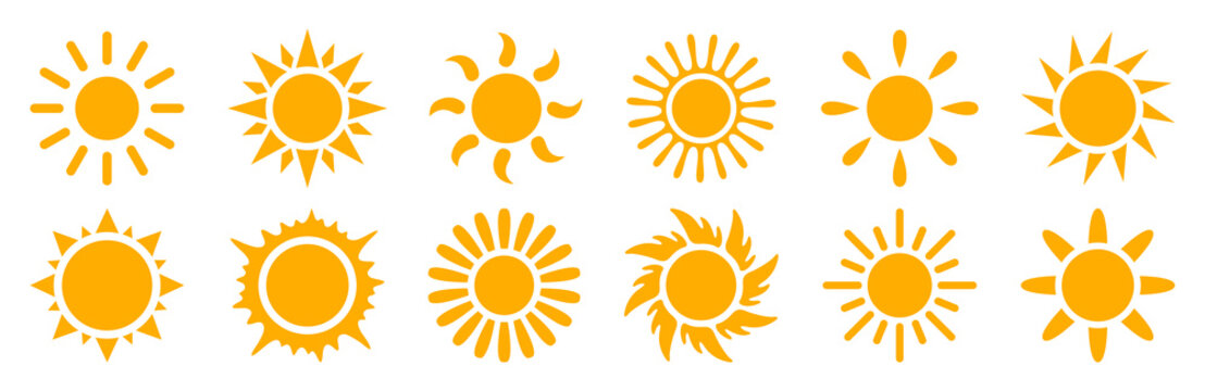 Set sun icons sign - stock vector