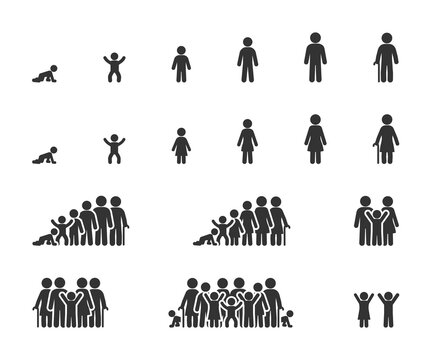 Vector set of life cycle flat icons. People of different ages, man and women, family, stages of growing up.