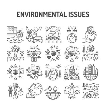 Environmental issues black line icons set. Signs for web page, app. UI UX GUI design element. Editable stroke.