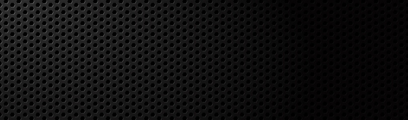 Abstract dark black geometric hexagonal mesh material header. Metallic technology banner with blank space for your logo. Vector abstract widescreen background