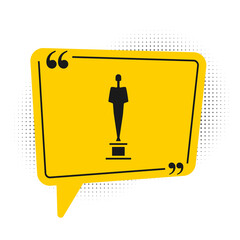 Black Movie trophy icon isolated on white background. Academy award icon. Films and cinema symbol. Yellow speech bubble symbol. Vector Illustration.