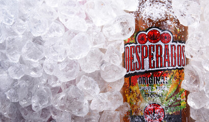 Bottles of Desperados beer in crushed ice