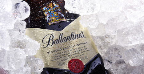 Bottle of Ballantine's scotch whisky in crushed ice