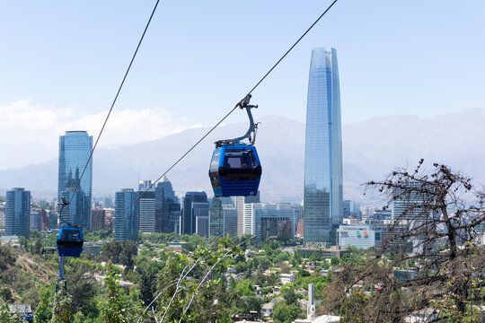 Santiago de Chile view, with the cable car in the foreground