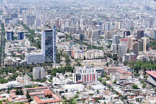 Baquedano square and Movistar building in Santiago de Chile