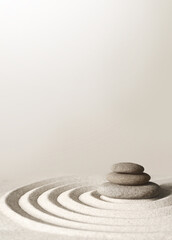 Obraz Japanese zen garden meditation stone, concentration and relaxation sand and rock for harmony and balance - fototapety do salonu