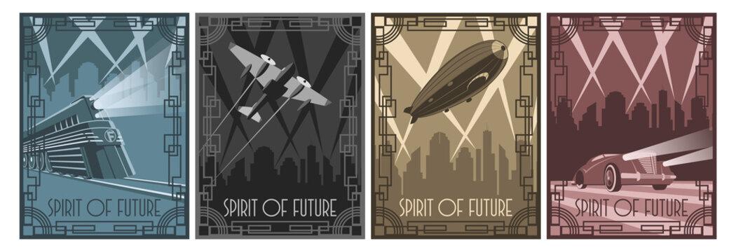 Spirit of Future 1920s Art Deco Style Poster Set, Retro Future Transport, Car, Airplane, Dirigible, Locomotive