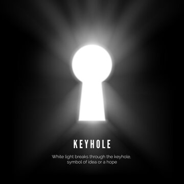 Keyhole. White light breaks through the keyhole symbol of idea or hope. vector illustration