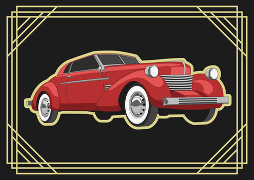 Retro Car 1930s, 1940s Style, Retro Transport, Red Automobile