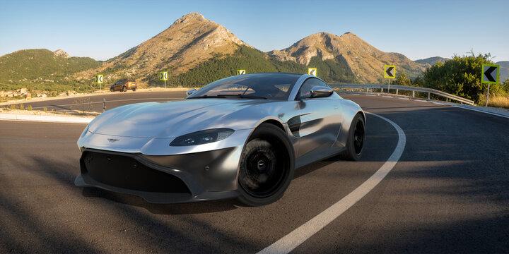 Aston Martin Vantage riding a winding mountain road