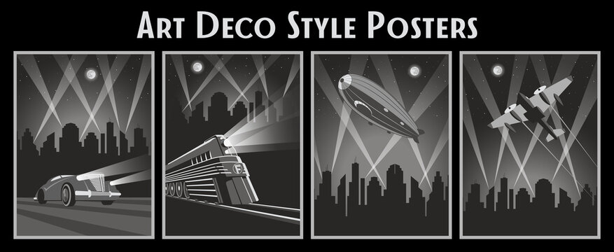 Retro Future Transport: Car, Locomotive, Airplace, Dirigible, Cityscape Silhouette Art Deco Style Poster Set