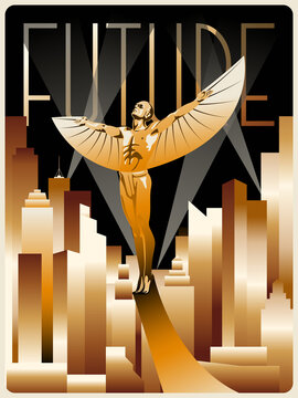 Flying Winged Man Statue Art Deco Style Poster, Golden Cityscape, Rays of Light