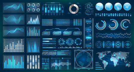 Futuristic Interface HUD Design, Infographic Elements,Tech and Science, Analysis Theme Wall mural