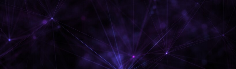 Festive Magic and Divine Purple Glowing Stars Lights and Polygon Lines. Half Banner Web Banner 3D Illustration on Black Background