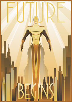 Retro Future Flying Man Art Deco Poster, Cityscape, Golden Rays 1920s, 1930s Style