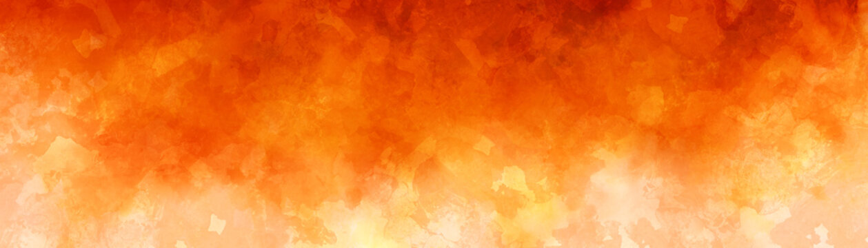 Abstract fall or autumn background concept with mottled leave pattern painted in grunge texture design, hot red yellow and orange colors of fire