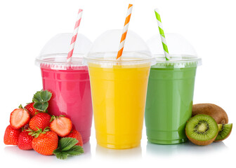 Aluminium Prints Juice Fruit juice smoothies drink drinks cups healthy eating isolated on white