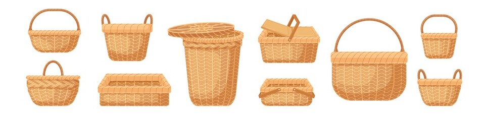 Set of various realistic empty wicker baskets vector illustration. Collection of straw handmade container or pannier isolated on white background. Decorative accessories for storage or carrying