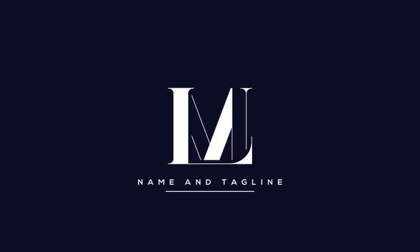 alphabet letters monogram icon logo LM or ML
