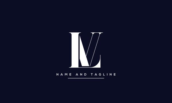 alphabet letters monogram icon logo LV or VL