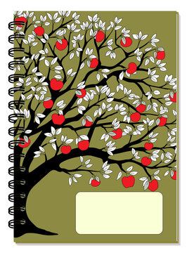 A5 school spiral notebook cover with apple tree and red apples