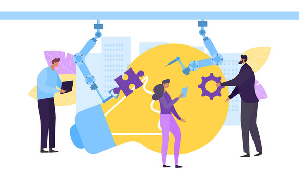 Manager engineer robot check concept, vector illustration. Control automated work, tech equipment process. Man woman test product, large light bulb, idea, workerk make notes about operation.