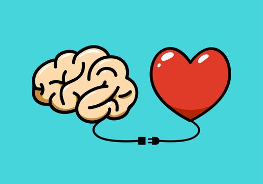 The Brain and the heart connected with a cable. Vector Illustration
